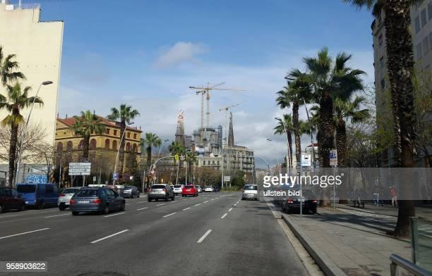Spanien, Barcelona, , Blick auf die Sagrada Familia Basilika von Antoni Gaudí