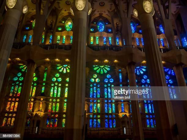 Spanien, Barcelona. Kirche SAGRADA FAMILIA, Innenaufnahme.