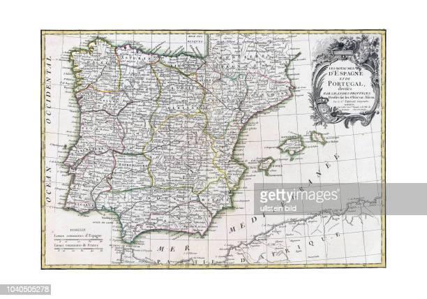 Spanien+Portugal 1791. Aus: Atlas moderne ou collection de cartes sur toutes les parties du globe terrestre par plusieurs auteurs. Paris 1791