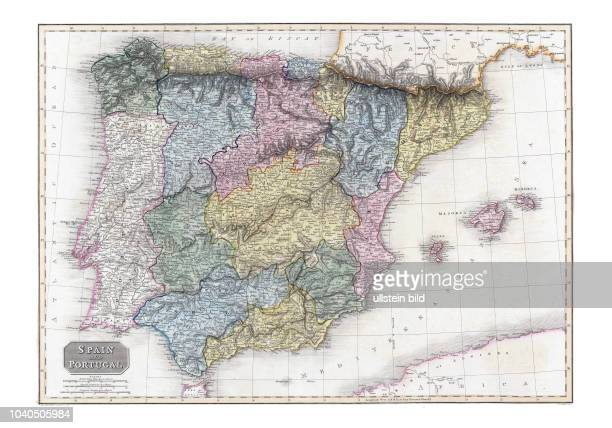 Spanien+Portugal 1810. Aus: A modern atlas, from the latest and best authorities, exhibiting the various divisions of the world, with its chief...