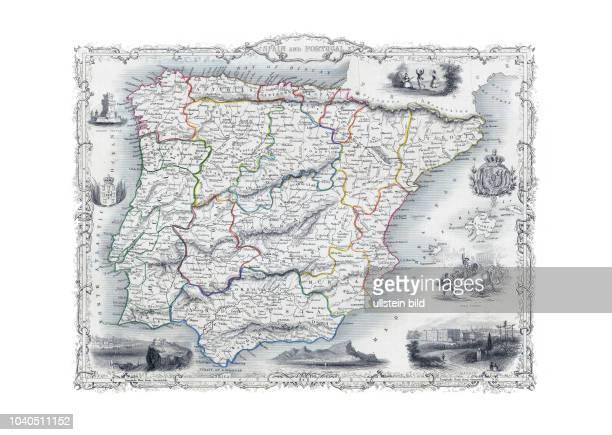 Spanien+Portugal 1851. Spain and Portugal. Aus: The Illustrated Atlas. J. & F. Tallis, London & New York, 1851