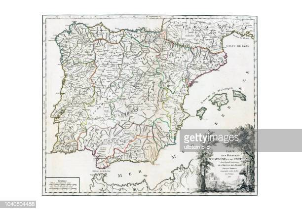 Spanien-Post 1757. Aus: Atlas Universel, par M. Robert Geographe ordinaire du Roy, et par M. Robert De Vaugondy son fils Geographe ord. Du Roy, Paris...