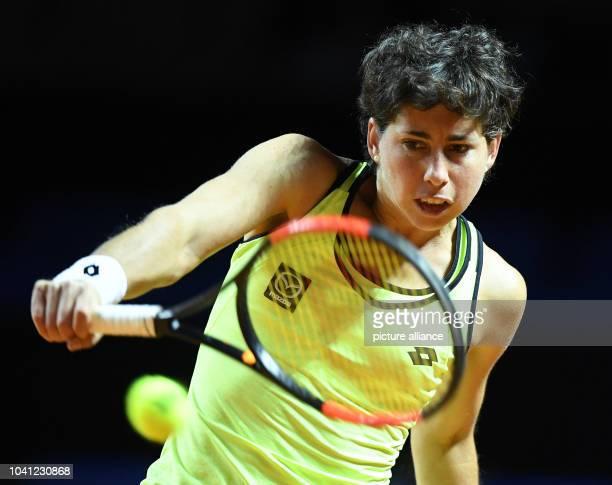 Spanisch tennis player Carla Suarez Navarro in action during the 1st round match between Suarez Navarro and Kopratsch at the Women's Stuttgart Open...
