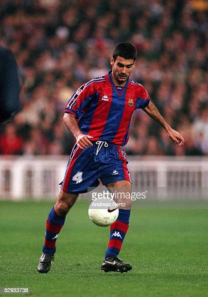 FUSSBALL spanische Liga/FC BARCELONA 060297 Josep GUARDIOLA aktion