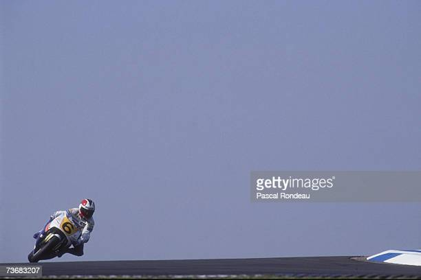 Spanish 250cc Motorcycle World Champion Alfonso 'Sito' Pons Ezquerra competing on a Honda at the 1990 British Grand Prix at Donington