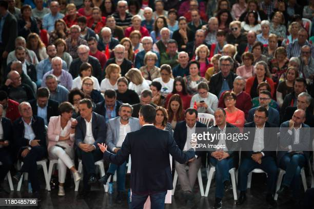Spanish acting Prime Minister and candidate for reelection Pedro Sanchez for Socialists Workers party speaks during an electoral campaign in...