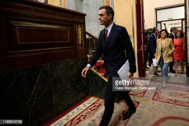 Spanish acting Prime Minister Pedro Sanchez arrives to the start of the investiture debate at the Spanish Parliament on July 22 2019 in Madrid Spain...