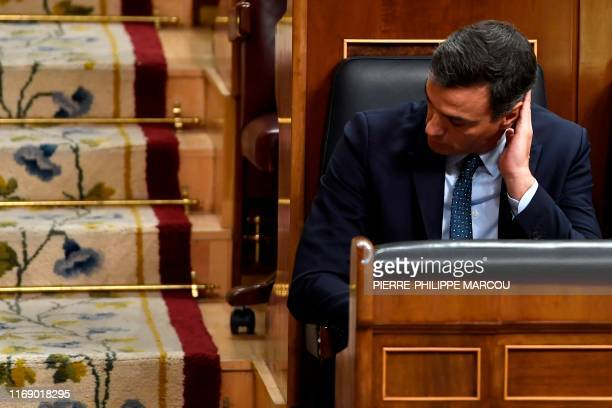 Spanish acting Prime Minister Pedro Sanchez attends a parliament plenary session on September 18, 2019 in Madrid. - Spain will hold a repeat general...