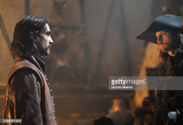 Spanish actor Aitor Luna as Diego Alatriste and Italian actor Filippo Sbalchiero as Gualterio Malatesta act at the set of TV series 'Alatriste' in...