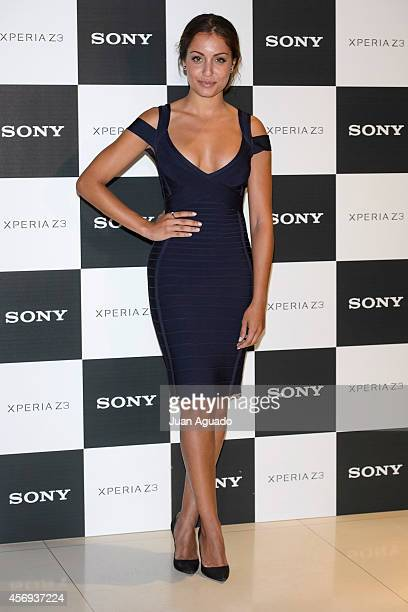 Spanish actor Alex Gonzalez and Spanish actress Hiba Abouk present new Sony Xperia Z3 smartphone at Sony Auditorium on October 9 2014 in Madrid Spain