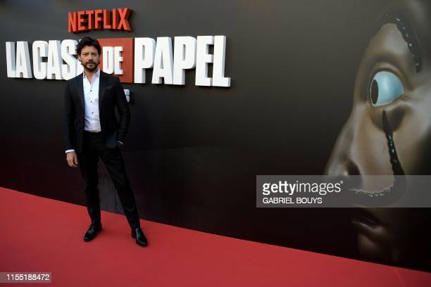 Spanish actor Alvaro Morte poses during a photocall for the presentation of the third season of the Spanish TV show La Casa de Papel in Madrid on...
