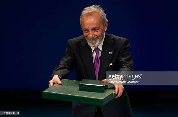 Spanish actor and director Jose Luis Gomez receives the medal during the Medal of Andalucia awards 2018 at the Teatro la Maestranza on February 28...