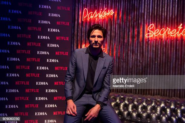 Spanish actor Andres Velencoso poses during the after party as part of the Premiere of Netflix's Edha at Faena Arts Center on March 7 2018 in Buenos...