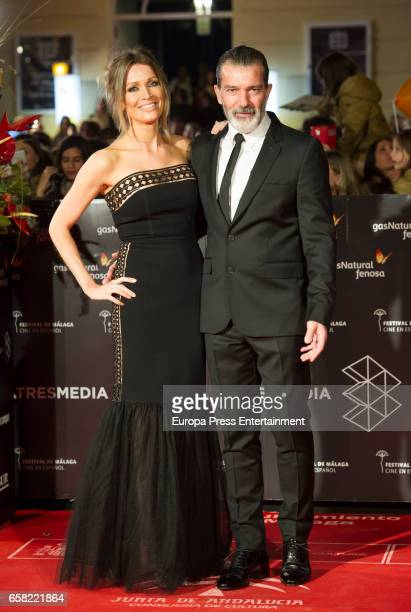 Spanish actor Antonio Banderas and Nicole Kimpel during the 20th Malaga Film Festival at the Cervantes Teather on March 25 2017 in Malaga Spain