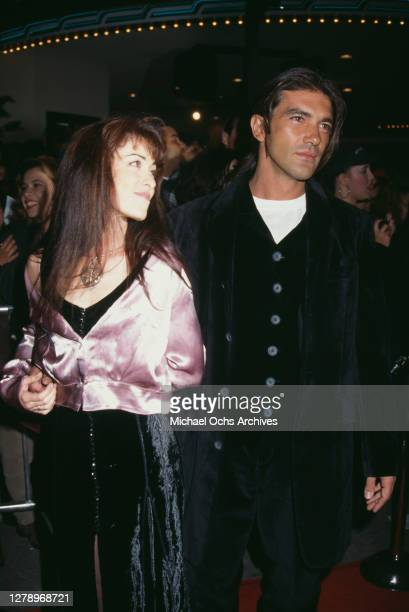 Spanish actor Antonio Banderas and wife Ana Leza during Interview With A Vampire Los Angeles Premiere at Mann's Village Theater in Westwood...
