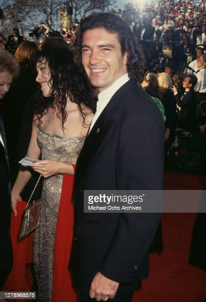 Spanish actor Antonio Banderas and wife Ana Leza during the 66th Annual Academy Awards at Dorothy Chandler Pavilion in Los Angeles California United...