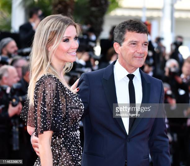 Spanish actor Antonio Banderas arrives with Nicole Kimpel for the Closing Awards Ceremony of the 72nd annual Cannes Film Festival in Cannes France on...