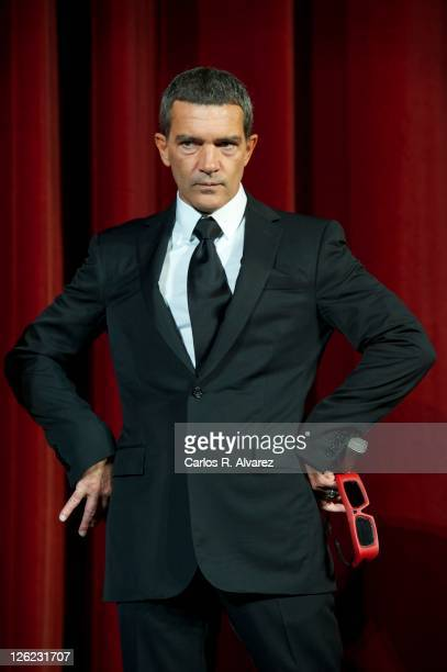 "Spanish actor Antonio Banderas attends ""Puss in Boots"" premiere at the Kursaal Palace during the 59th San Sebastian International Film Festival on..."