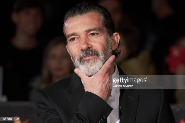 Spanish actor Antonio Banderas attends the 20th Malaga Film Festival closing ceremony at the Cervantes Teather on March 25 2017 in Malaga Spain