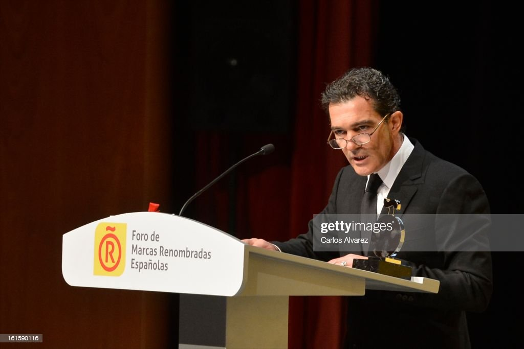 Spanish actor Antonio Banderas delivers a speech during the acreditations ceremony for honorary Spain 'Brand Ambassadors' at the Ciudad Financiera del Banco Santander on February 12, 2013 in Madrid, Spain.