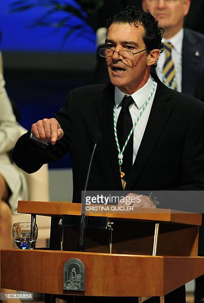 Spanish actor Antonio Banderas gives a speech after receiving the title of Favorite Son of Andalucia during a ceremony at the Maestranza Theatre in...