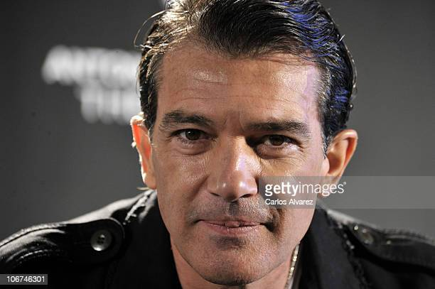 Spanish actor Antonio Banderas presents his new Fragrance 'The Secret' at the Palace Hotel on November 11 2010 in Madrid Spain