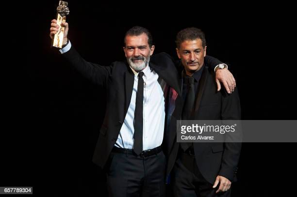 Spanish actor Antonio Banderas receives from his brother Francisco Javier Banderas the honorary Gold Biznaga award during the 20th Malaga Film...