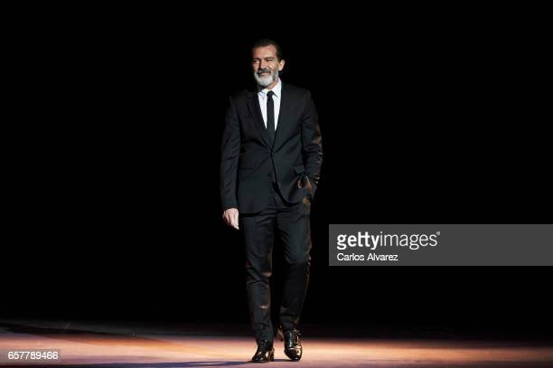 Spanish actor Antonio Banderas receives the honorary Gold Biznaga award during the 20th Malaga Film Festival at the Cervantes Teather on March 25...