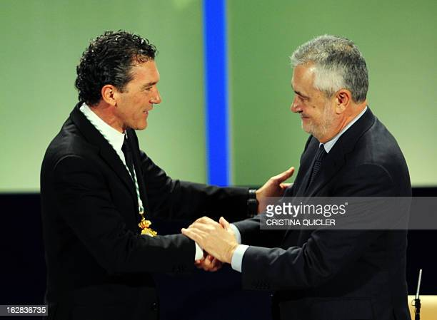 Spanish actor Antonio Banderas receives the title of Favorite Son of Andalucia by Andalucia's regional president Jose Antonio Grinan during a...
