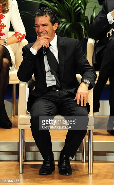 Spanish actor Antonio Banderas smiles before receiving the title of Favorite Son of Andalucia during a ceremony at the Maestranza Theatre in Sevilla...