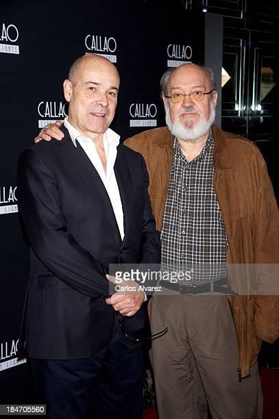 Spanish actor Antonio Resines and Spanish director Jose Luis Cuerda attend 'Amanece Que No Es Poco' 25th anniversary at the Callao cinema on October...