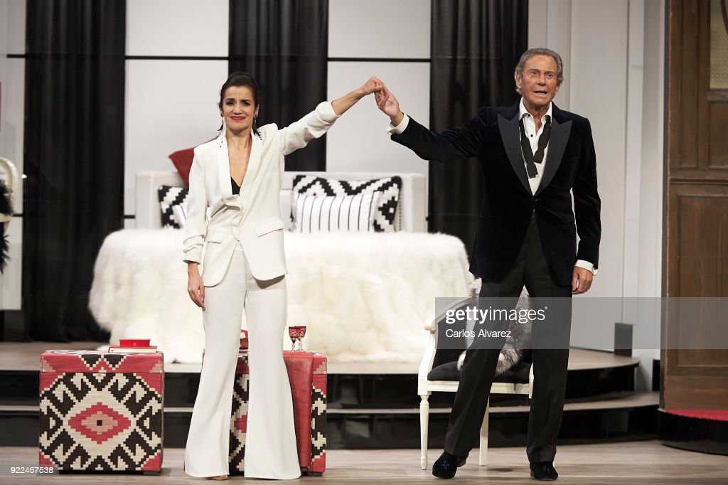 Spanish actor Arturo Fernandez celebrates his 89th Birthday on stage with actress Carmen del Valle during the 'Alta Seduccion' Theater play at the Amaya Theater on February 21, 2018 in Madrid, Spain.