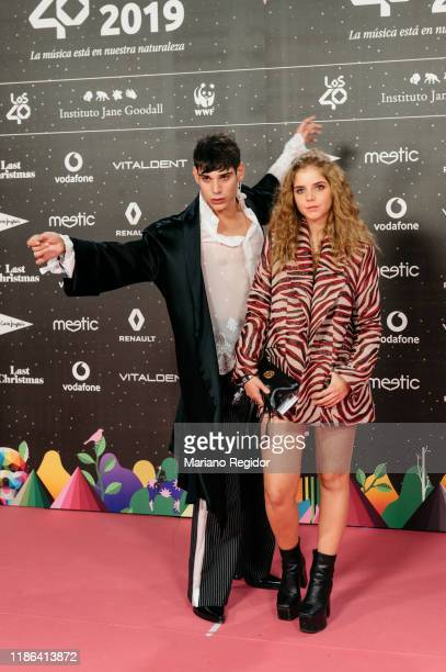 Spanish actor César Vicente and Spanish actress Lucía Díez attend 'Los40 music awards 2019' photocall at Wizink Center on November 08, 2019 in...