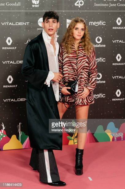 Spanish actor César Vicente and Spanish actress Lucía Díez attend 'Los40 music awards 2019' photocall at Wizink Center on November 08 2019 in Madrid...