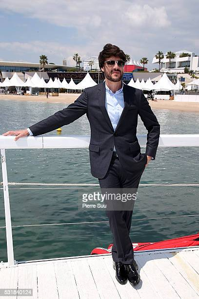 Spanish actor Daniel Grao poses at the Majestic Hotel beach during the 69th Annual Cannes Film Festival on May 17 2016 in Cannes France