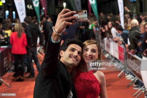 Spanish actor Daniel Lundh and actres Anna Moliner attend 'Tiempo de Guerra' premier at the Principal Teather during the FesTVal 2017 on September 6...