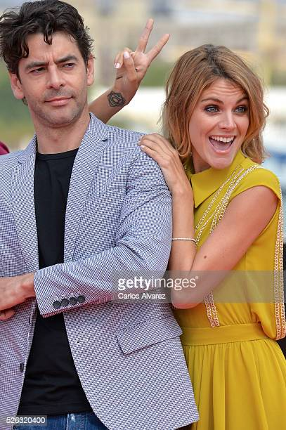 Spanish actor Eduardo Noriega and actress Amaia Salamanca attend 'Nuestros Amantes' photocall during the 19th Malaga Film Festival on April 30 2016...