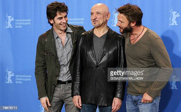 Spanish actor Eduardo Noriega British actor Sir Ben Kingsley and German actor Thomas Kretschmann pose during a photocall for the movie Transsiberian...