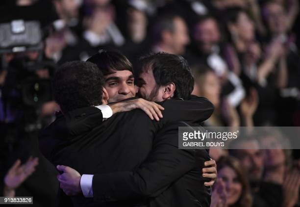 Spanish actor Eneko Sagardoy celebrates receiving the best new actor award for 'Handia' at the 32nd Goya awards ceremony in Madrid on February 3 2018...