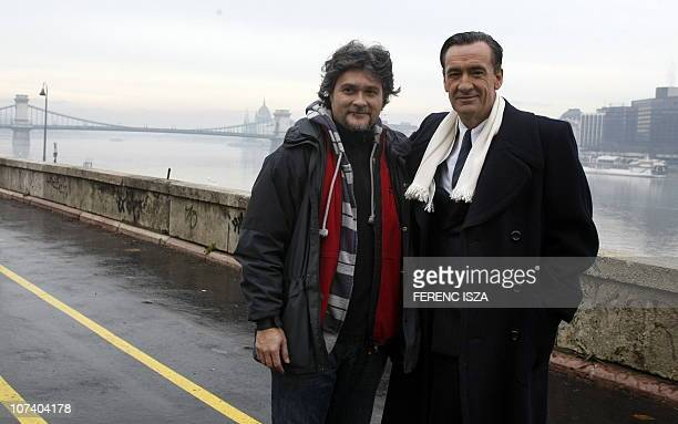 Spanish actor Francis Lorenzo who plays the part of Angel Sanz Briz poses with Spanish director Luis Olivera on the set of a joint SpanishHungarian...