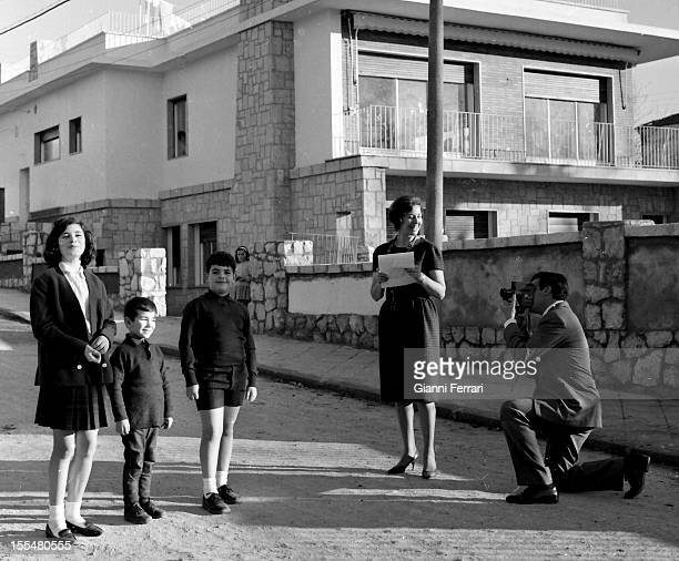 Spanish actor Francisco Rabal and his wife Spanish actress Asunción Balaguerwith their children Teresa Benito and a buddy outside heir home in Madrid...