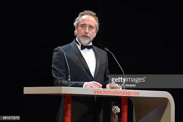 Spanish actor Gonzalo de Castro attends the 17th Malaga Film Festival 2014 closing ceremony at the Cervantes Theater on March 29 2014 in Malaga Spain