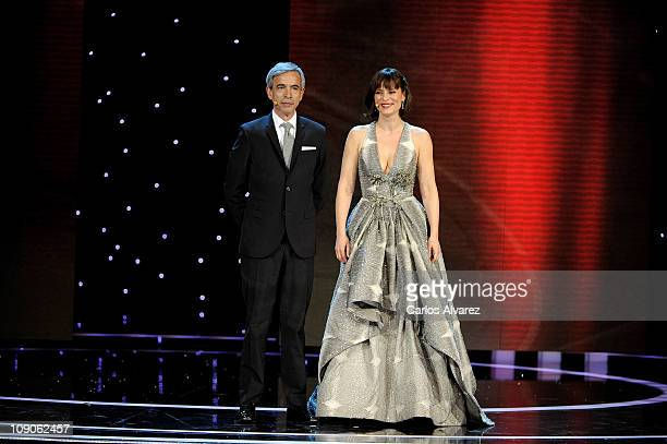 Spanish actor Imanol Arias and actress Aitana Sanchez Gijon attend the Goya cinema Awards 2011 ceremony at the Royal Theater on February 13 2011 in...
