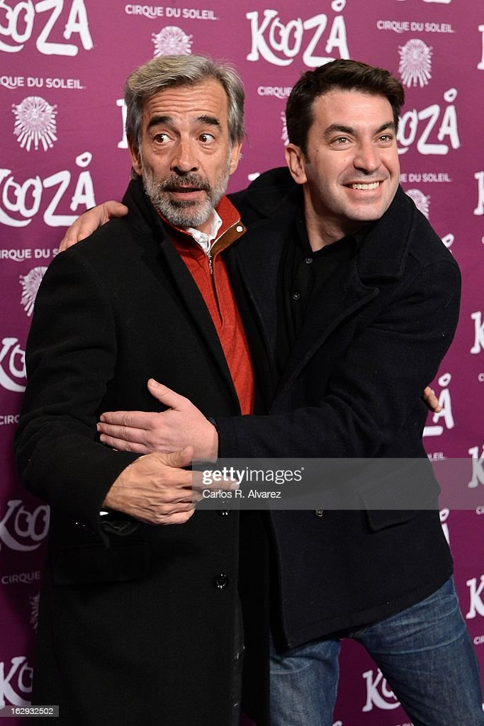 Spanish actor Imanol Arias (L) and Arturo Valls (R) attend 'Cirque Du Soleil' Kooza 2013 premiere on March 1, 2013 in Madrid, Spain.