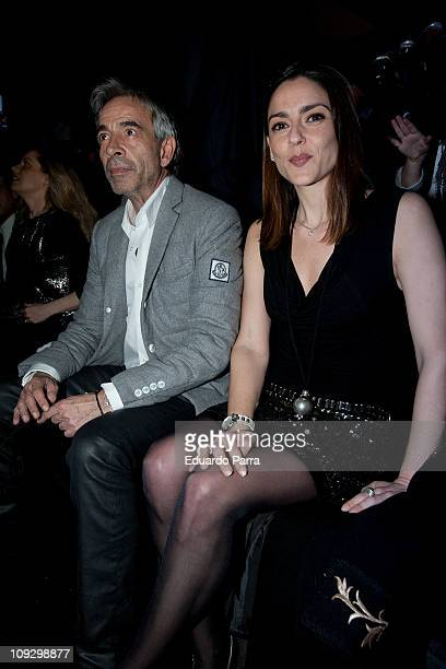 Spanish actor Imanol Arias and his girlfriend attends the Roberto Torreta fashion show during the Cibeles Madrid Fashion Week A/W 2011 at Ifema on...
