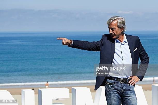Spanish actor Imanol Arias attends 'Eva No Duerme' photocall at the Kursaal Palace during the 63rd San Sebastian International Film Festival on...