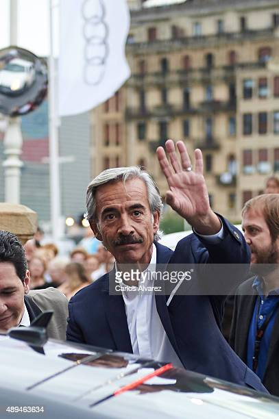 Spanish actor Imanol Arias is seen arriving at the Maria Cristina Hotel during the 63rd San Sebastian International Film Festival on September 21...