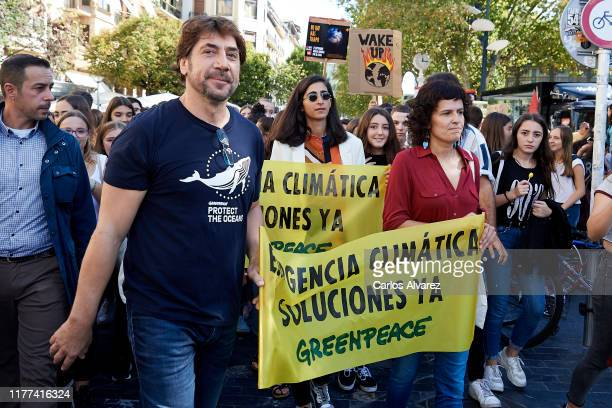 Spanish actor Javier Bardem and Spanish actress Alba Flores are seen during a global youth climate action strike in on September 27 2019 in San...