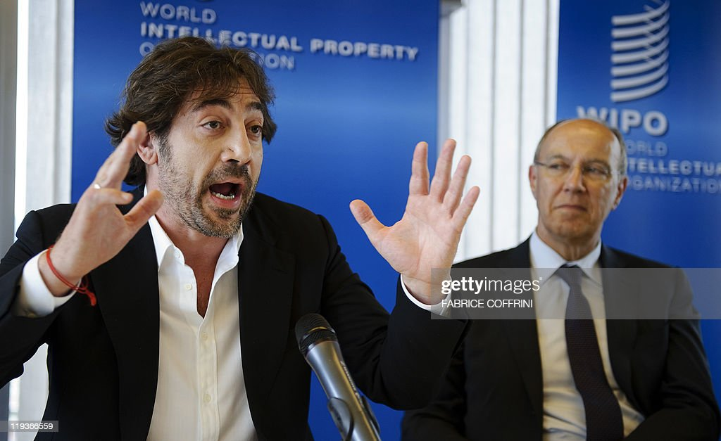 Spanish actor Javier Bardem (L) gestures