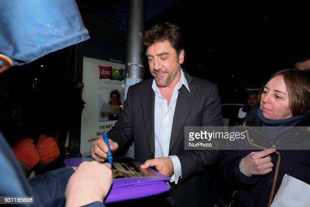 Spanish actor Javier Bardem poses as he arrives for the 27th Actors and Actresses Union Awards at the Circo Price Theater in Madrid Spain 12 March...
